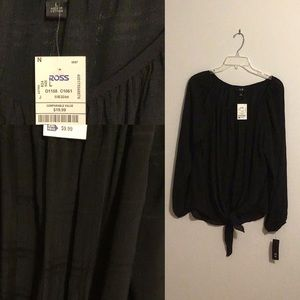AGB Black Tie-Front Blouse